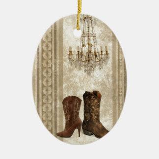 Ornement Ovale En Céramique Bottes de cowboy rustiques de pays occidental de