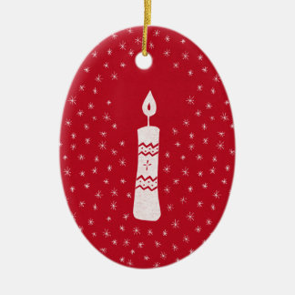 Ornement Ovale En Céramique Bougie de Noël avec les étoiles de scintillement