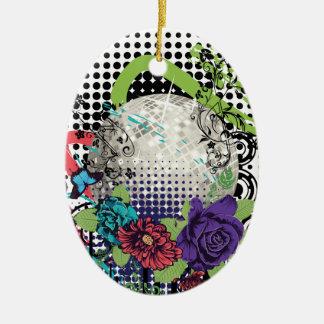 Ornement Ovale En Céramique Boule argentée grunge de disco
