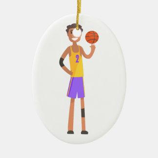 Ornement Ovale En Céramique Boule de rotation de joueur de basket sur une