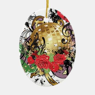 Ornement Ovale En Céramique Boule grunge 2 de disco d'or