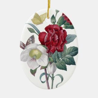 Ornement Ovale En Céramique bouquet d'anémone et d'oeillets