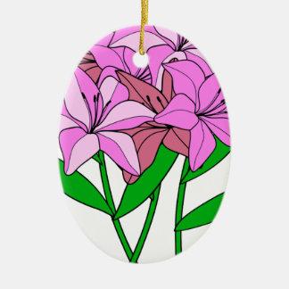 Ornement Ovale En Céramique Bouquet de lis