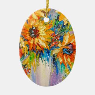 Ornement Ovale En Céramique Bouquet des tournesols