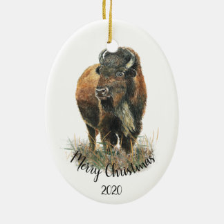 Ornement Ovale En Céramique Buffalo daté de bison d'aquarelle de Noël de