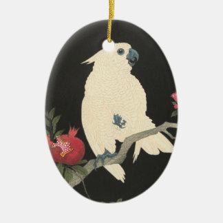 Ornement Ovale En Céramique Cacatoès japonais vintage des beaux-arts |