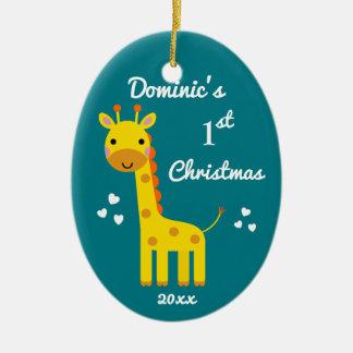 Ornement Ovale En Céramique Cadeau d'amusement de Noël du bébé de girafe ęr