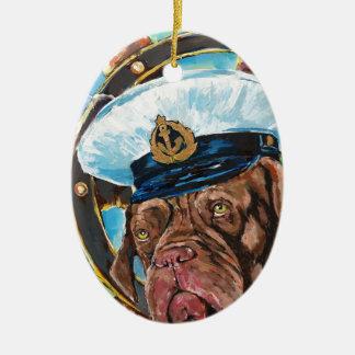 Ornement Ovale En Céramique Cadeau de //du chien du marin de //de l'année du