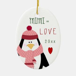 Ornement Ovale En Céramique Cadeau de Noël de pingouin de 2017 amours MIMI