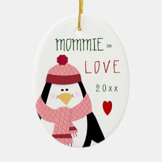 Ornement Ovale En Céramique Cadeau de Noël de pingouin de l'amour MOMMIE