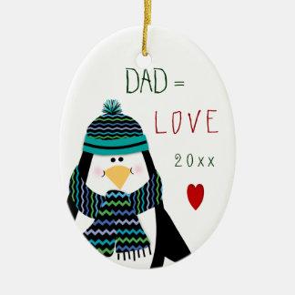 Ornement Ovale En Céramique Cadeau de Noël de pingouin de PAPA d'amour