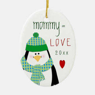 Ornement Ovale En Céramique Cadeau mignon de Noël de pingouin de MAMAN d'amour