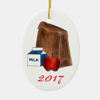 Ornement Ovale En Céramique Cadeau préféré de professeur d'Apple de lait de