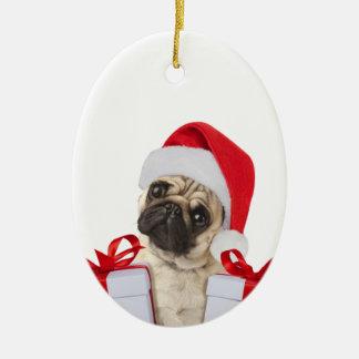 Ornement Ovale En Céramique Cadeaux de carlin - chien Claus - carlins drôles -