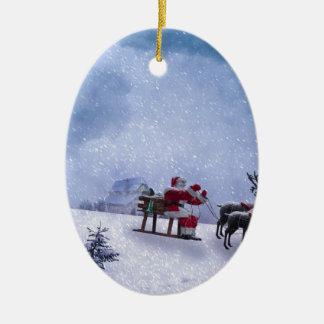 Ornement Ovale En Céramique Cadeaux de Noël