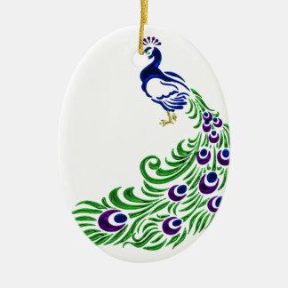 Ornement Ovale En Céramique Cadeaux de paon