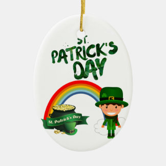 Ornement Ovale En Céramique Cadeaux du jour de St Patrick