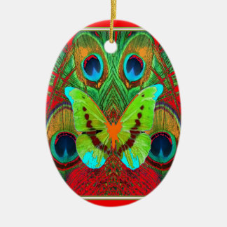 Ornement Ovale En Céramique cadeaux verts de paon de papillon
