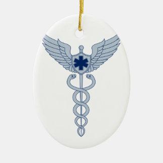 Ornement Ovale En Céramique Caducée avec l'icône d'étoile des ailes EMT de
