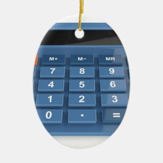 Ornement Ovale En Céramique Calculatrice bleue