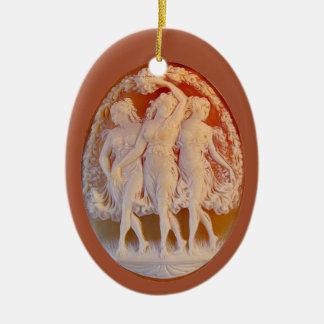 Ornement Ovale En Céramique Camée