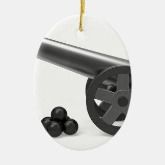 Ornement Ovale En Céramique Canon avec les bombes noires