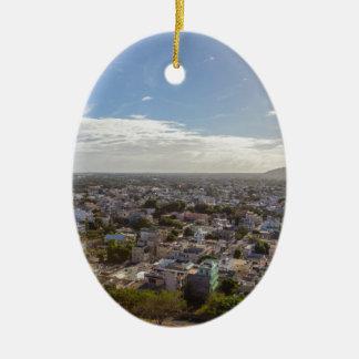Ornement Ovale En Céramique Capitale panoramique de Port-Louis des Îles
