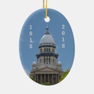 Ornement Ovale En Céramique Capitol de Lincoln l'Illinois bicentenaire