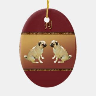 Ornement Ovale En Céramique Carlin année chinoise de conception asiatique la