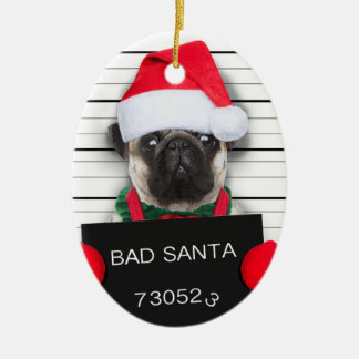 Ornement Ovale En Céramique Carlin de Noël - chien de photo - carlin de père