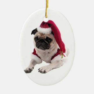 Ornement Ovale En Céramique Carlin de Noël - chien du père noël - poursuivez
