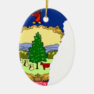 Ornement Ovale En Céramique Carte de drapeau du Vermont