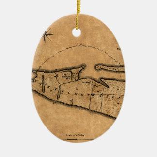 Ornement Ovale En Céramique Carte de Nantucket 1782