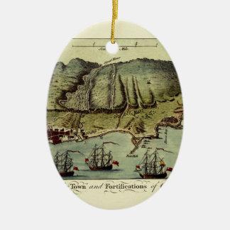 Ornement Ovale En Céramique Carte du Gibraltar 1765