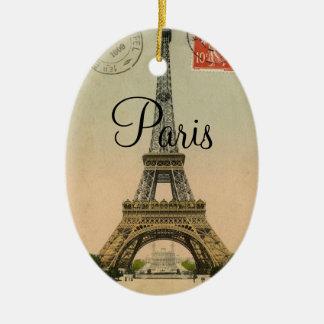 Ornement Ovale En Céramique Carte postale vintage de Paris France de Tour