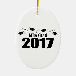 Ornement Ovale En Céramique Casquettes du diplômé 2017 de MBA et diplômes