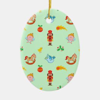 Ornement Ovale En Céramique Casse-noix, cheval, ange et motif de Noël d'oiseau