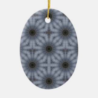 Ornement Ovale En Céramique Cercles floraux de kaléidoscope, gris
