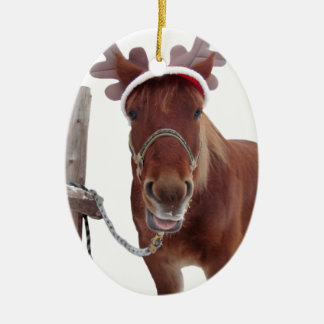 Ornement Ovale En Céramique Cerfs communs de cheval - cheval de Noël - cheval
