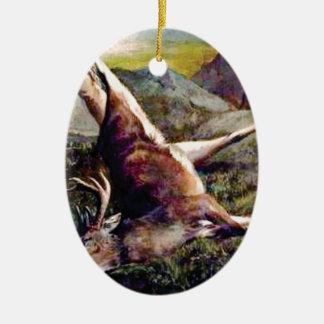 Ornement Ovale En Céramique cerfs communs de robe de champ