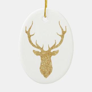 Ornement Ovale En Céramique Cerfs communs élégants de Noël de parties