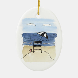 Ornement Ovale En Céramique Chaise de maître nageur sur l'ornement de plage