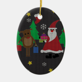 Ornement Ovale En Céramique Chandail laid de Noël