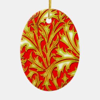 Ornement Ovale En Céramique Chardon rouge d'or