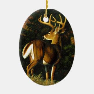 Ornement Ovale En Céramique Chasse de mâle de trophée de cerf de Virginie