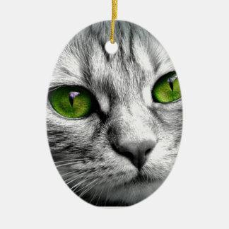 Ornement Ovale En Céramique chat aux yeux verts