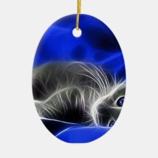 Ornement Ovale En Céramique chat bleu