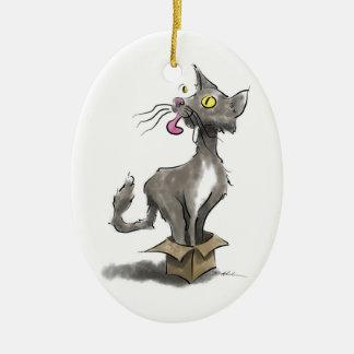 Ornement Ovale En Céramique Chat dans la boîte