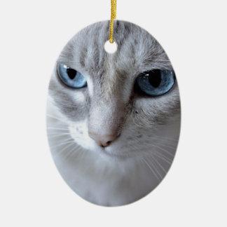 Ornement Ovale En Céramique Chat de Kisa d'yeux bleus