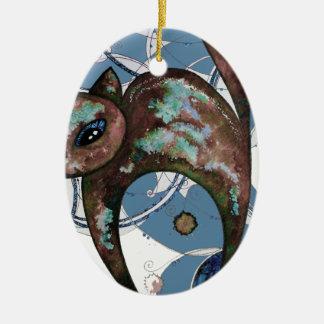 Ornement Ovale En Céramique Chat de myrtille